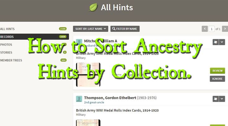 HOW TO SORT ANCESTRY HINTS BY COLLECTION.  - Ancestry Family Tree Tips Genealogy Ancestry.com Collection Hints Heritage Research