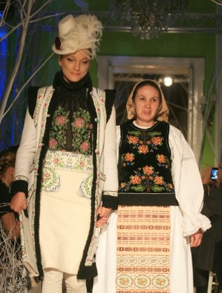 Philippe Guilet - his fashion version on the left, the traditional Romanian costume on the right