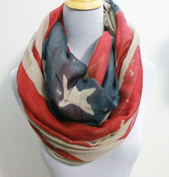 American Flag Infinity Scarf Cute star bangled by dailyaccessoriez, $14.99