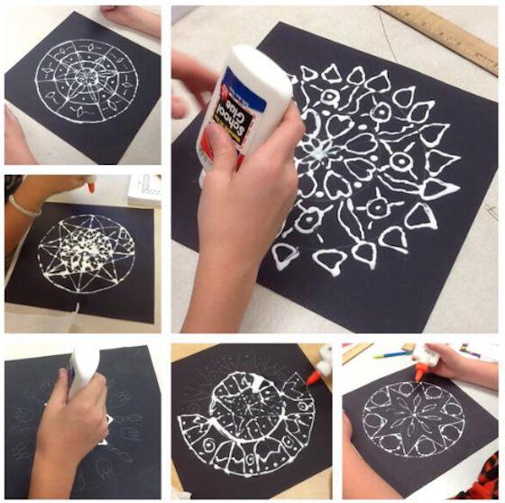 chalk and glue mandalas