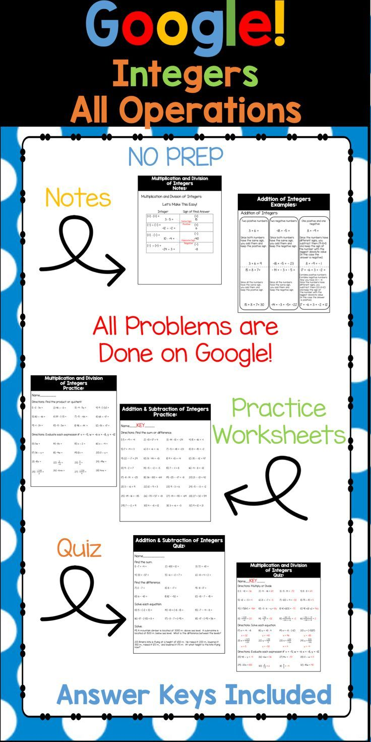 Your students will have fun as you integrate technology into your math curriculum. There are moveable manipulatives to give students a visual of how to add integers. There are also written out notes and example for your students to refer to. There are several pages of problems for your students to do to practice adding, subtracting, multiplying and dividing integers. Finally, there is a quiz to assess your students with. Answer keys included!!!  You WILL need internet for this product. You…