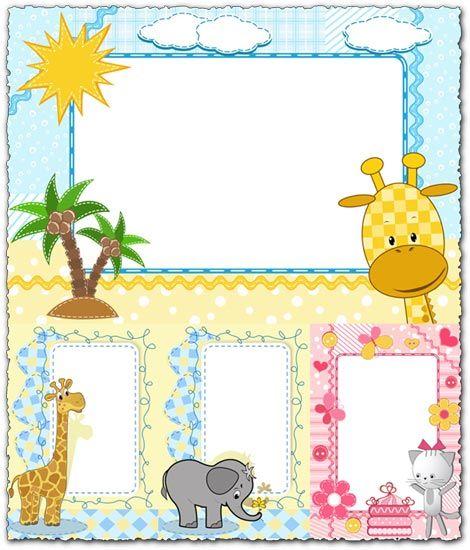 Cartoon frames with baby animals vectors  :)