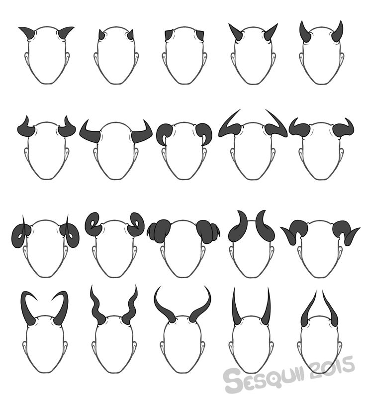 sesquii:  I really like horns, so here, have a set horns, antlers and feelers! Feel free to use as a reference or inspiration, no need to credit. :)