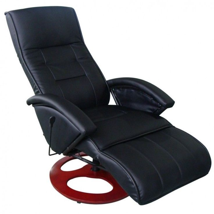 Leather Massage Chair Black Adjustable Heated Backrest Footrest Artificial Black #LeatherMassageChair
