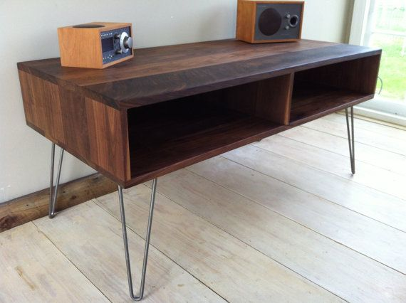 mid century modern tv table entertainment console black walnut with hairpin legs tv consoles. Black Bedroom Furniture Sets. Home Design Ideas