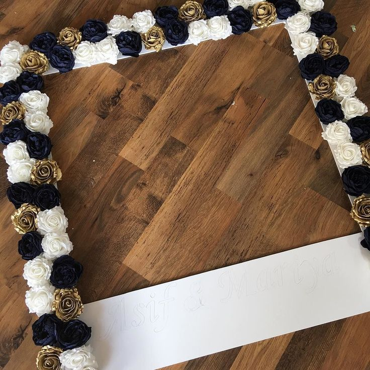 Personalised selfie frame for a wedding in gold white and navy For info and…