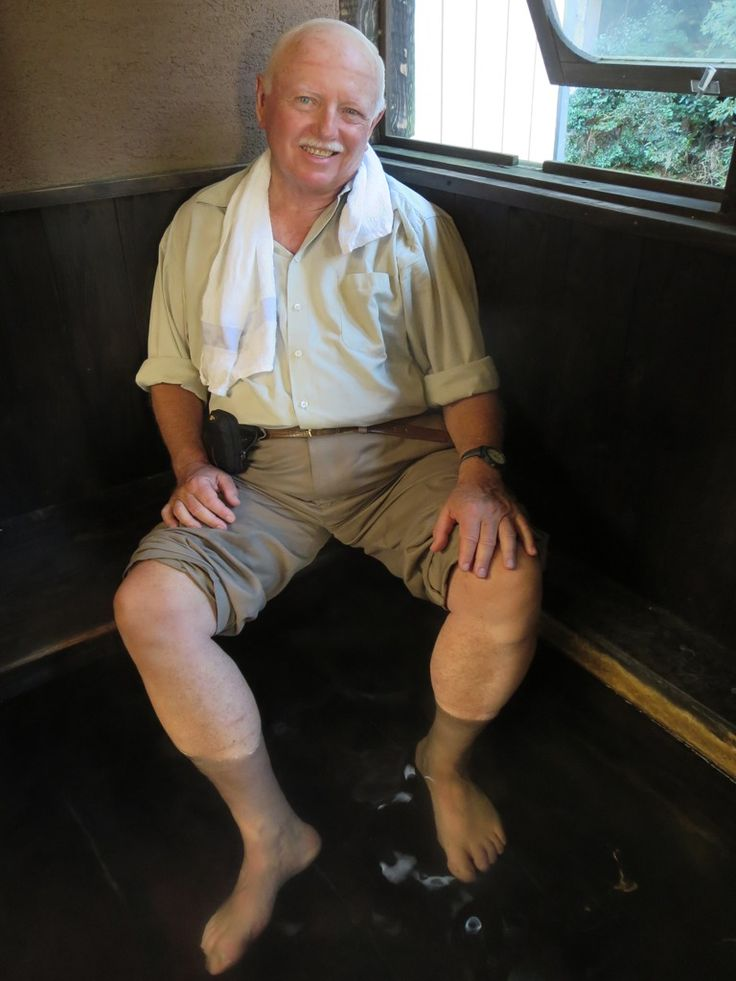 David Stanley enjoying a hotspring foot bath at Kurokawa Onsen, Kyushu, Japan.