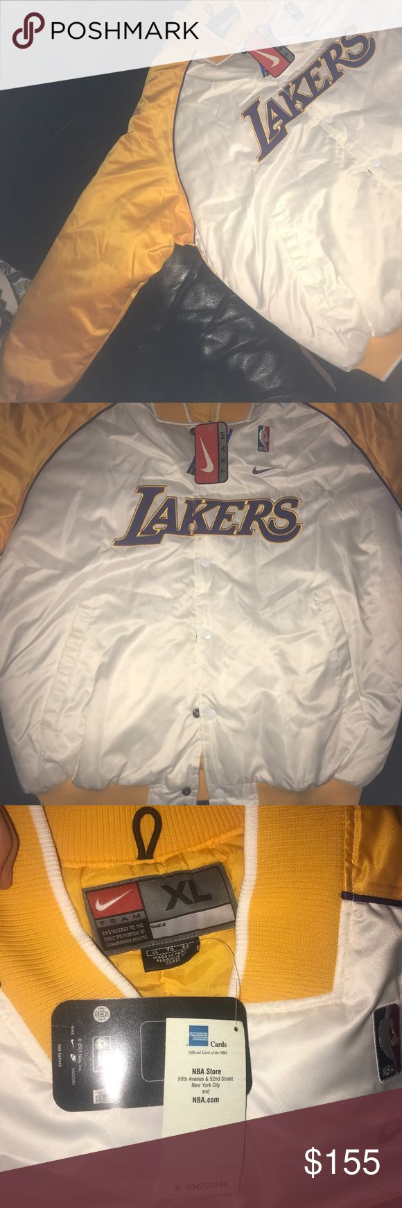 NBA NIKE LAKERS BOMBER JACKET PRICE DROP vintage New with tag LA Los Angeles Lakers men's basketball Nike varsity bomber jacket insulated with detail stitching on the front and back yellow white and purple size men's XL no defects PRICE NEGOTIABLE!!   Similar to: Supreme, Adidas, hypebeast, rare, yeezy, streetwear, bape, palace, Jordan, retro, Nike Jackets & Coats