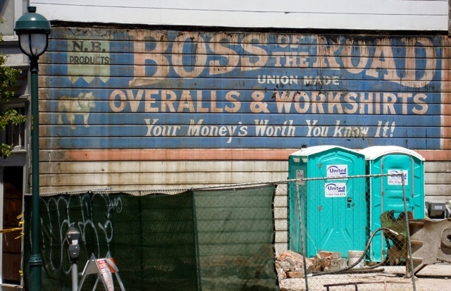Boss of the Road Overalls & Work Shirts, wall advertisement, San Francisco, California. From Riveted Blog.: Wall Signs, Ghosts Signs And, Vintage Signs, Francisco Ghosts, Ghosts Signsand, Riveter Blog, San Francisco
