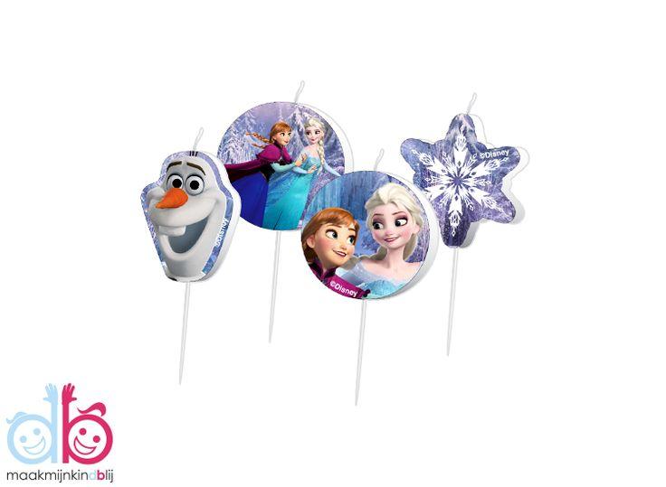 4 Disney Frozen verjaardag taart kaarsjes voor op de Frozen taart.  Set van 4 verschillende kaarsen.