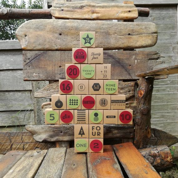 Reusable Advent Calendar hand stamped reuse fill yourself
