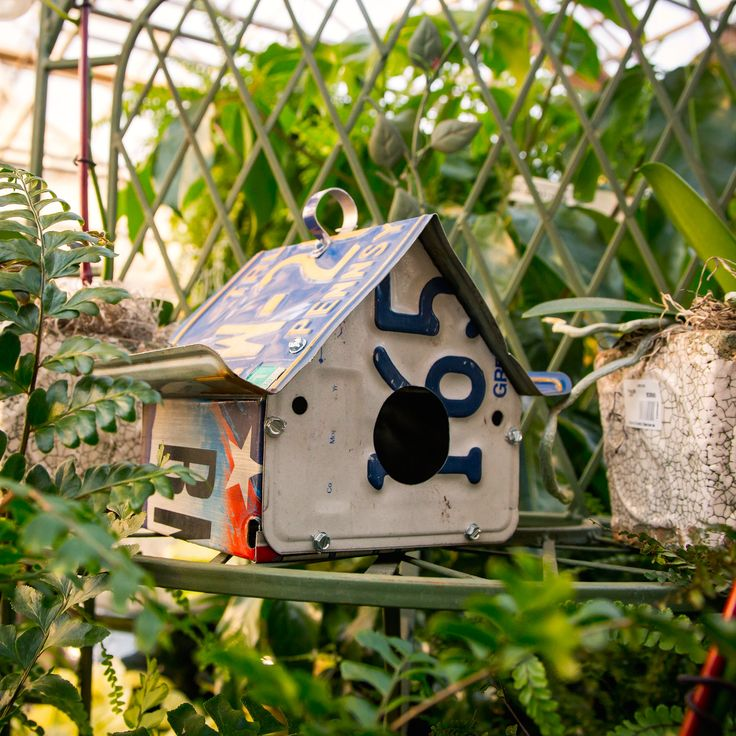 This Creative Birdhouse Not Only Provides Shelter, But Also Repurposes Old  License Plates! Available At Bucks Country Gardens, Doylestown PA.