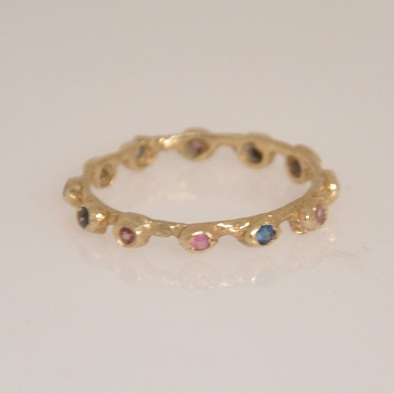 Gold Stacking Ring  Gold Thin Ring  Gemstone by malkaravinajewelry