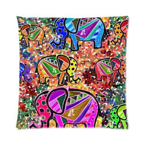 Custom Safari Cute whimsical colorful elephant & floral mozaique Pillowcase 18x18 One Side Casehome-01768 by Casehome, http://www.amazon.co.uk/dp/B00JFQZ3K2/ref=cm_sw_r_pi_dp_3bsptb0SMP1XX