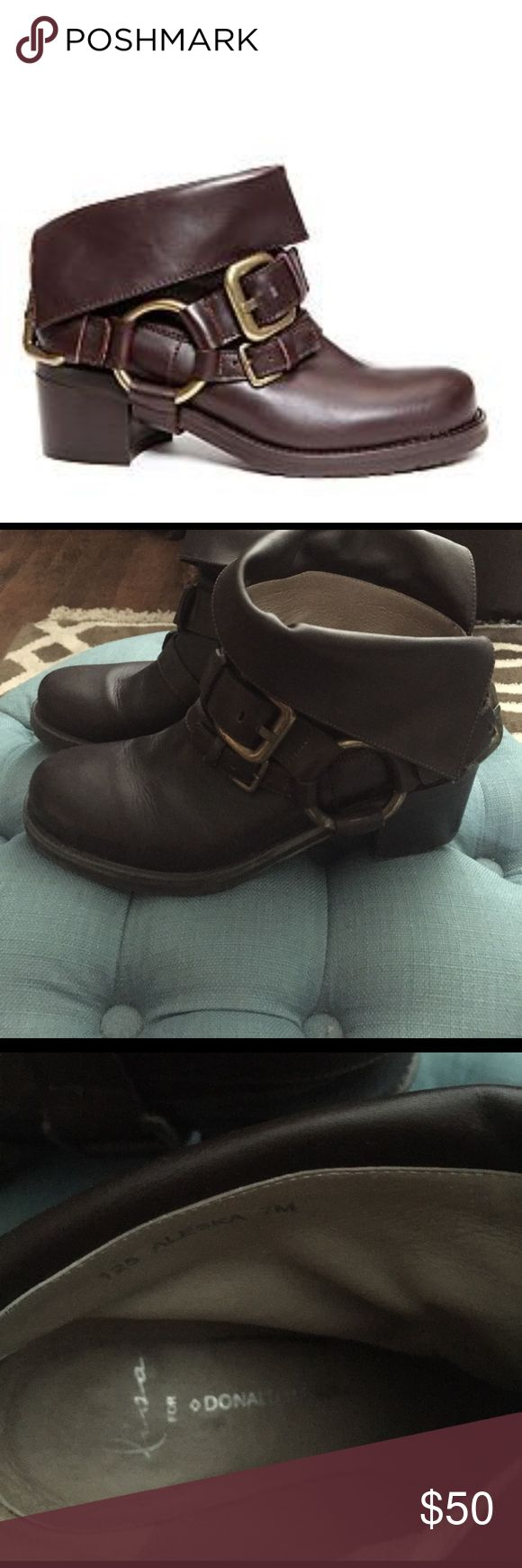 Lisa for Donal J Oliver Alesha brown booties 7 Great boots. Great condition. Leather flap on top can be turned down (turn down for what?!) or popped up for a different look. Dark Hershey bar brown. Wore them2 times Donald J. Pliner Shoes Ankle Boots & Booties