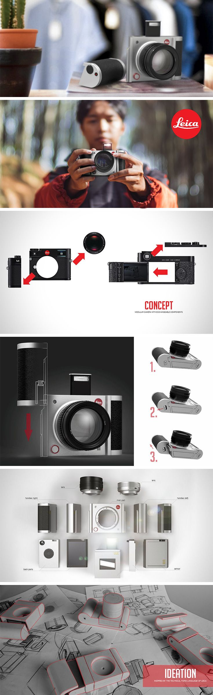 The Leica U camera concept explores modularity as an option to defeat obsolescence. The modular system allow users to not only update their hardware infinitely, but to build it to their liking at the onset. Using a quick locking mechanism, individual components can be released and replaced in a jiffy. This also means that photographers can quickly and easily switch between photography styles without carrying around multiple cameras.