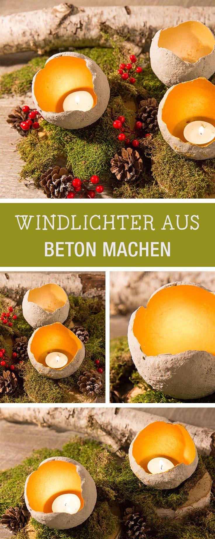 DIY Idee für Weihnachten: Windlichter aus Beton b…