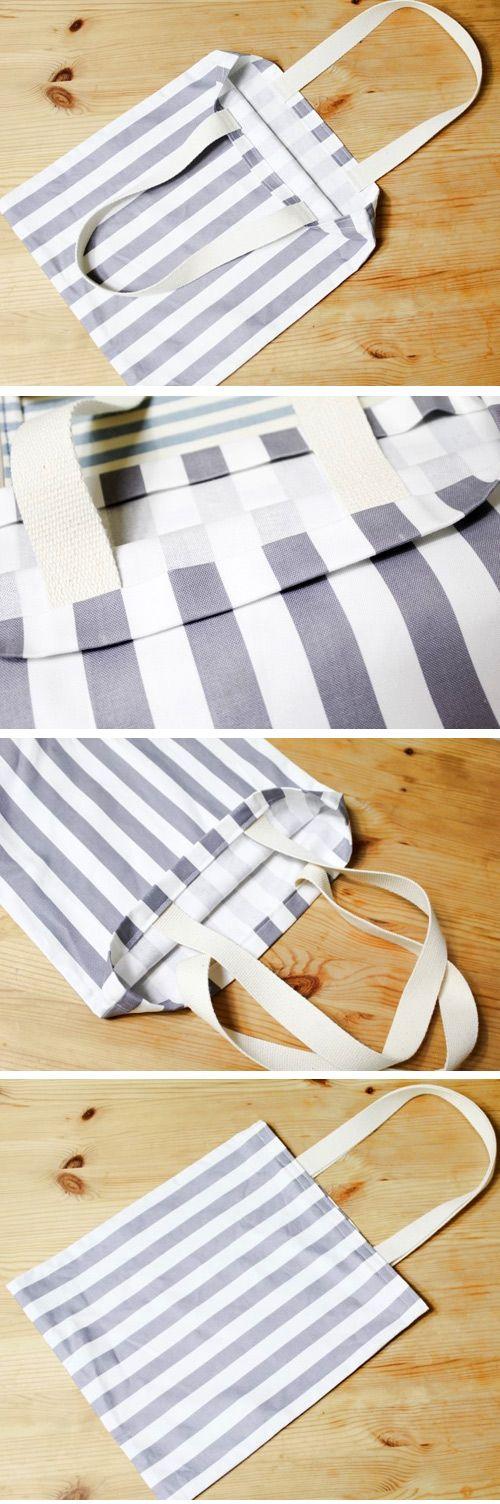How to make Eco Fabric Shopping Bag. Step by Step Photo Tutorial. http://www.handmadiya.com/2016/05/eco-shopping-bag-tutorial.html