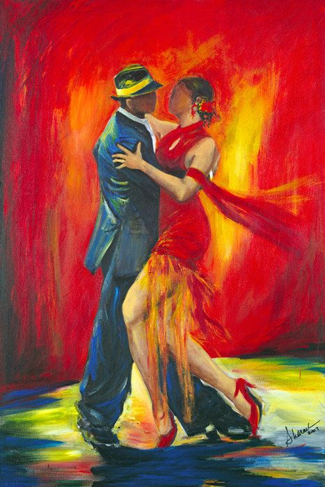 #Art by Sharareh #Tango dancers with a dramatic red background by SherisArtStudio, $12.00 #www.sherisartstudio.com