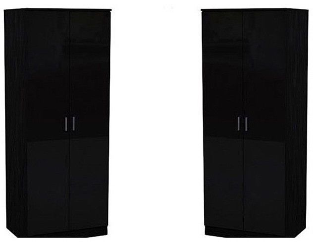 Set of 2x Modern Robe Black High Gloss Oak Frame 2 Door Double Wardrobe Bedroom