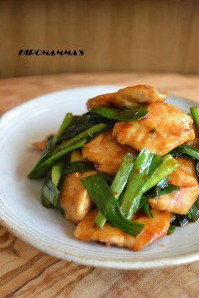 鶏ささみとニラのピリ辛豆板醤炒め Chicken white meat and hot tobanjan roasting of Chinese chives