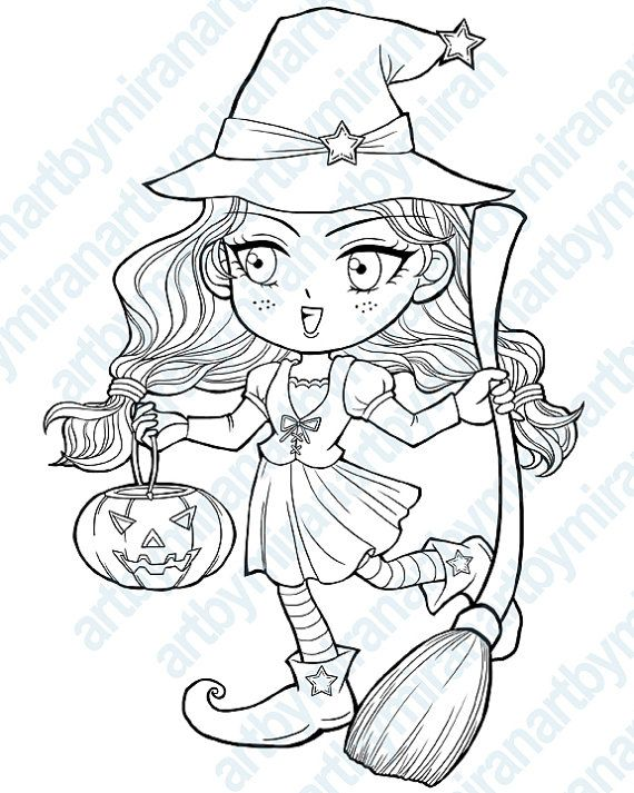 Halloween Digital Stamp Trick Or Treat Witch Coloring Page Childrens Art Instant Download Chibi Cute Image Anime Kawaii Line