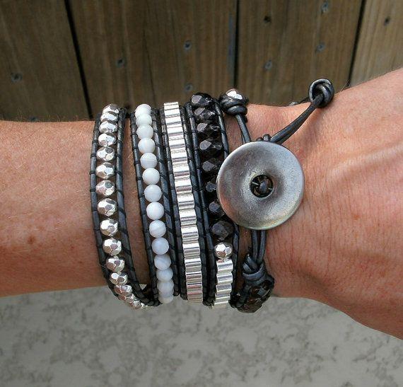 Stone & Metal Beaded Leather Wrap Bracelet Navy by WrapStash