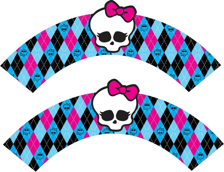 some printable cup cake wrappers designed by mighty delighty and also great Monster High cake and cookie information can be found at http:/mightydelighty.net