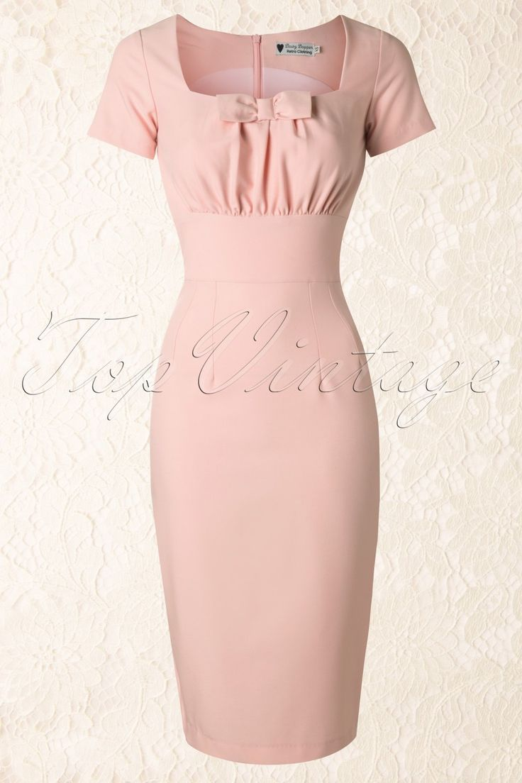 """Daisy Dapper collection - Get all tied up with this50s Debbie Pencil Dress in Light Pink!The elegant square neckline on this beautifully gathered bodice (balconet) has a striking bow, só cute! The cute short sleeves and pretty broad waistband give you a sweet but sexy look ;) Made from a comfortable supple thin fabric in sweet soft pink with a nice stretch for a perfect fit, it hits far below the knee with a lenght of 1.70m/5'7"""".Concealed zipper and slit at the back. Pink ..."""