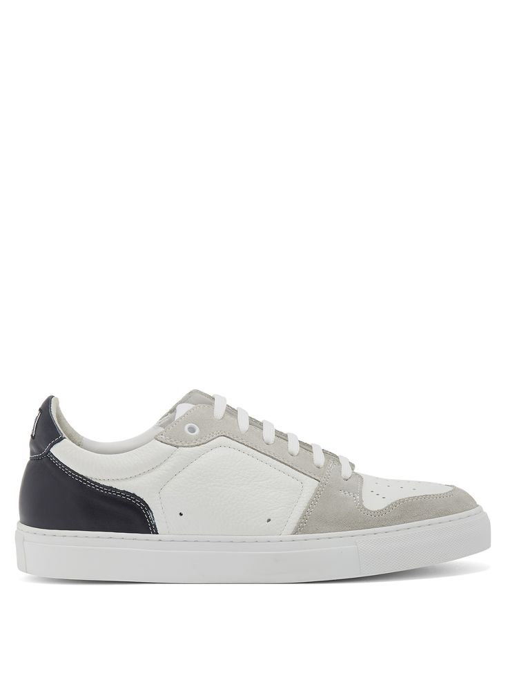 Contrast-panel low-top leather and suede trainers | AMI | MATCHESFASHION.COM UK