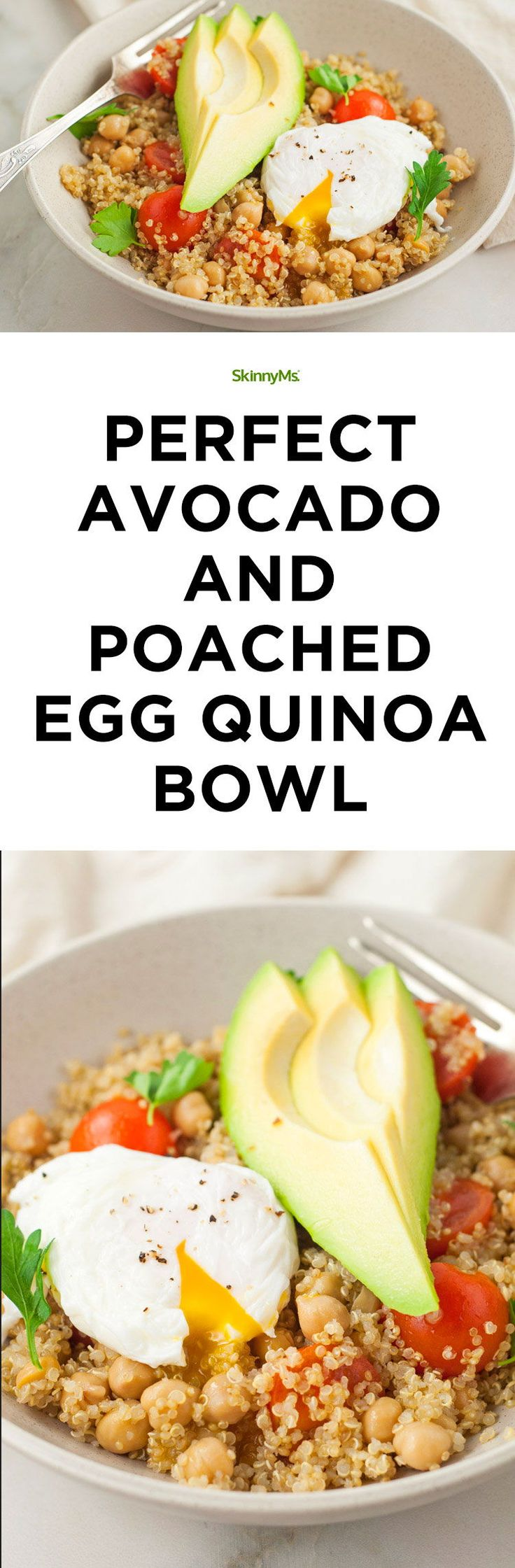 This Avocado and Poached Egg Quinoa Bowl is a filling and satisfying meal, no matter the time of day! #avocado #poachedegg #quinoa #healthy #recipes