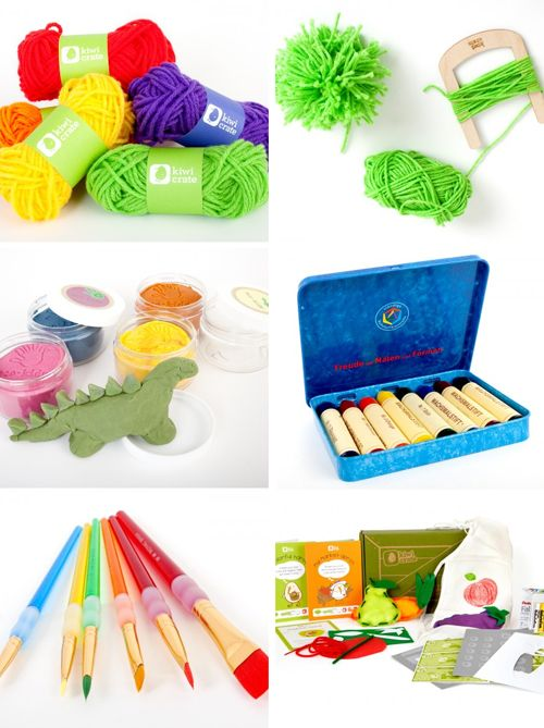 kiwi crate art supplies; need this for the kids!  What a great gift this would be.