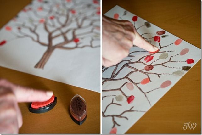 I saw this at a wedding where guests signed by their prints... I use the same tree every year and my students leave a fingerprint then write their name and year... good keepsake!