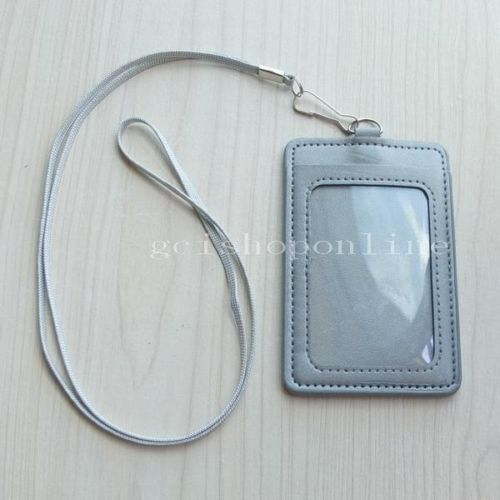 Strap Lanyard PU Leather Card Holder Badge for Reel Clip ID Retractable YoYo | eBay