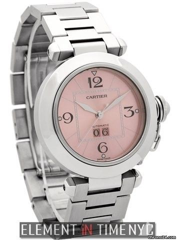 Cartier Pasha Collection Pasha C Large Date Stainless Steel 35mm Pink Dial Ref. W31058M7 Price On Request