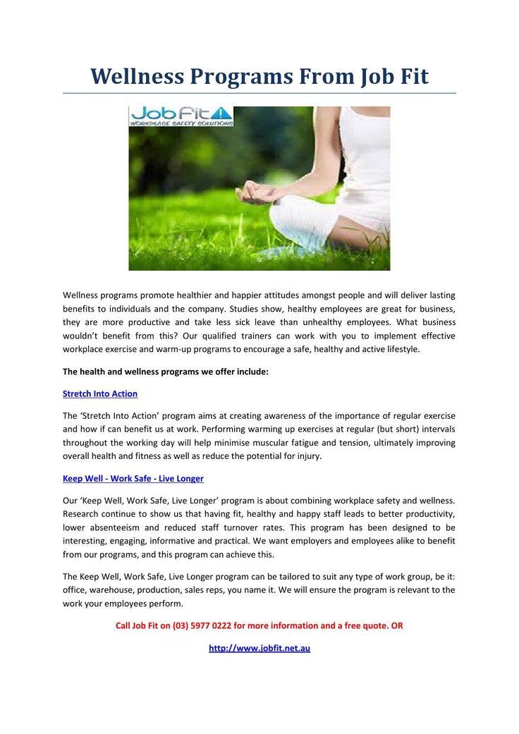 Wellness programs from job fit