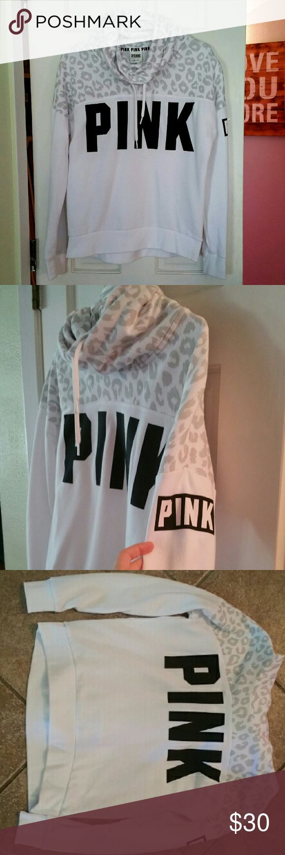Victoria's Secret Pink cowl neck hoodie!! Victoria's Secret Pink cowl neck hoodie! (: this is a white hoodie with light gray leopard print on the top and black PINK logos on the chest and arm! It's a gorgeous hoodie and looks amazing on! It's only been worn once so it's practically brand new!! No rips tears or stains! Size XS and it has a looser fit. Open to all reasonable offers!! PINK Victoria's Secret Tops Sweatshirts & Hoodies