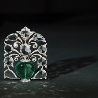 Emerald and diamond 'Tree of Life' brooch, by Bhagat.