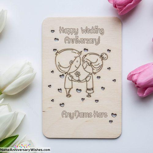 Cute Couple Happy Wedding Anniversary Wood Card