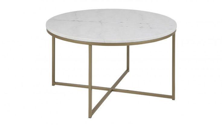 Table Basse Ronde Plateau En Marbre Blanc Collection Alisma