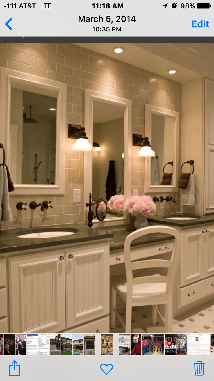 Rustic master bathroom with log walls amp undermount sink zillow digs - Traditional Bathroom Three Mirrors Two Sinks One Dressing Station And Subway Tile Wall The Middle Mirror Is Perfect For A Makeup Station