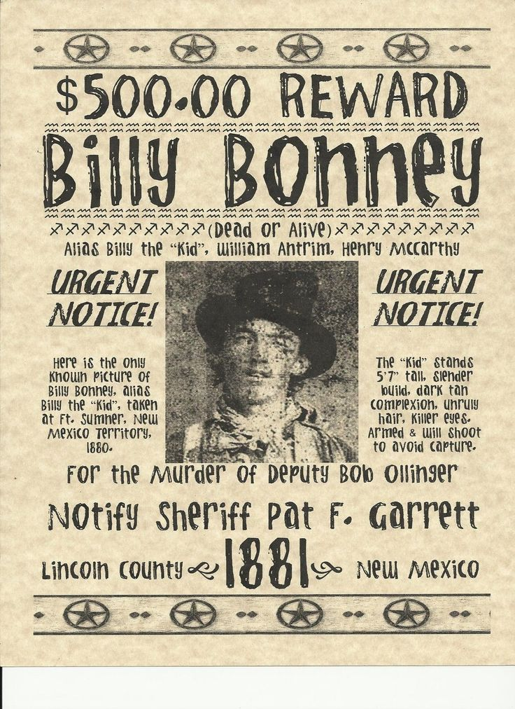 Old West Wanted Posters | old west wanted posters~OUTLAW BILLY THE KID DEAD IN SHOOT-OUT WITH ...