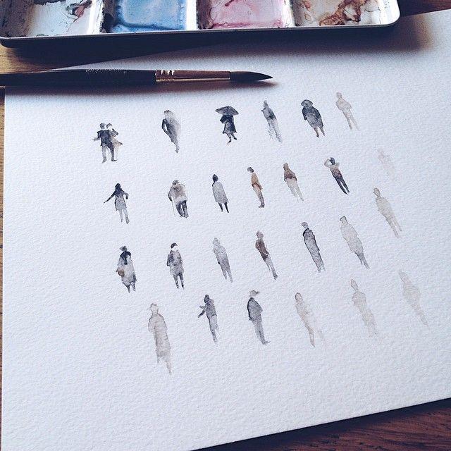 Watercolor tiny people by Ignasi Font · www.facebook.com/ignasifontartwork
