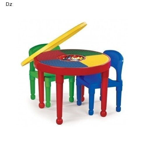 Round Building Block Table Lego Construction Plastic Chairs Kids Activity Play