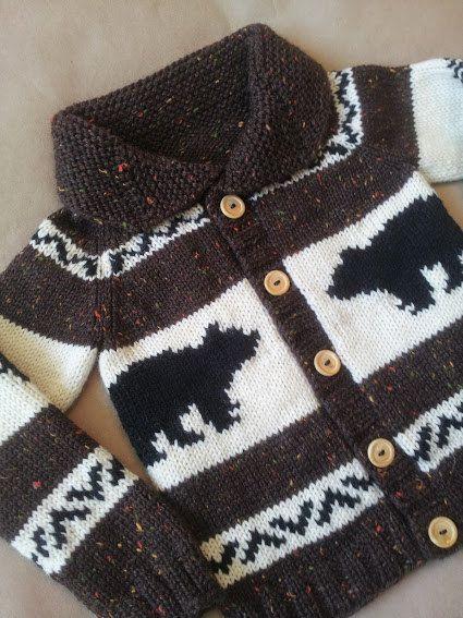 Bear Sweater Knit Children's Sweater Cowichan Style