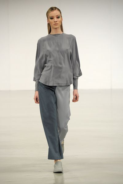 A/W 2013-14 GRADUATE COLLECTION #gfw2013 #graduatefashionweek #suit #womenswear #finalcollection #aw13 #aw14 #minimal #minimalist #lessismore #cashmere #knots #drapery #moulage #slingback #brogue #model #silk #grey #blue #tones #twotone #blouse #movement #fabric