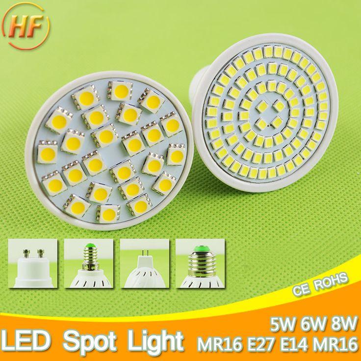A + + Lumineux E27 E14 MR16 GU10 LED Lampe 5 W 6 W 8 W LED Spotlight Bombillas GU5.3 Spot light Lampada LED Ampoule 110 V 12 V 220 V Lampara 9 W
