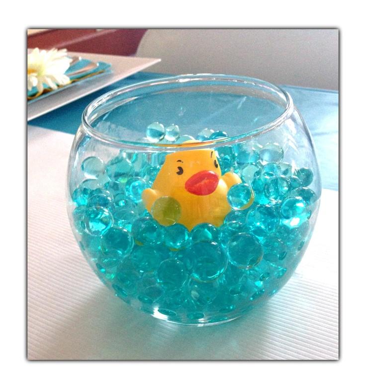 Baby shower centerpiece favor glass fishbowl aqua for Dollar tree fish bowls