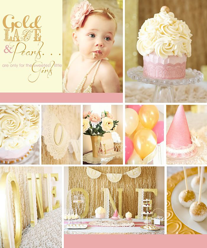 """gold lace and pearls"" theme party - you know we love lace! Ours will be peach lace and pearls..."
