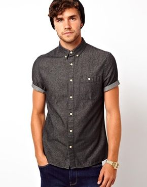 Image 1 of ASOS Black Denim Shirt in Short Sleeve